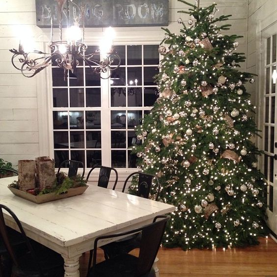 Stunning fake Christmas tree idea! Love how it fits in with this rustic farmouse country style room! @involvery http://involvery.siterubix.com/lets-talk-fake-christmas-trees